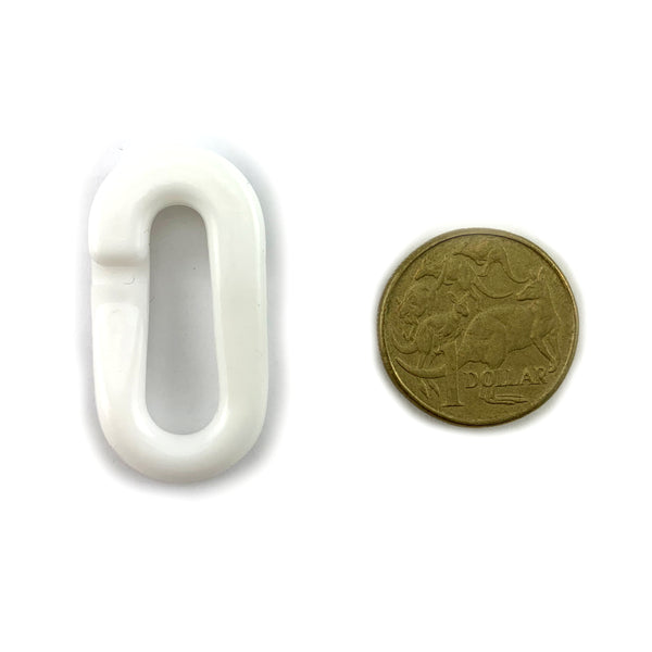 Plastic Chain Connecting Link - White - 6mm. Melbourne Australia.