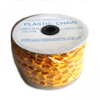 Plastic Chain in Yellow, Size: 6mm, Qty: 40-metre reel. Melbourne Australia