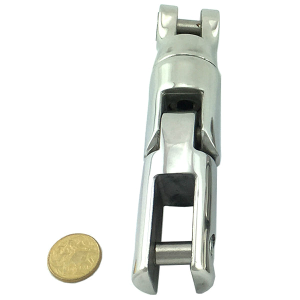 Anchor connector, three way swivel capabilities, in stainless steel type 316, size: large. Melbourne and Australia wide.