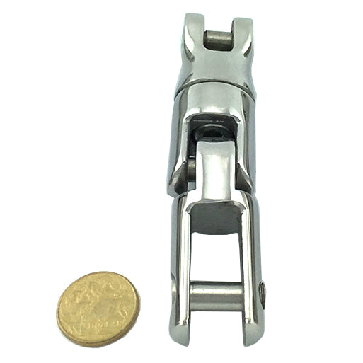 Anchor connector, three way swivel capabilities, in stainless steel type 316, size: small. Melbourne and Australia wide.
