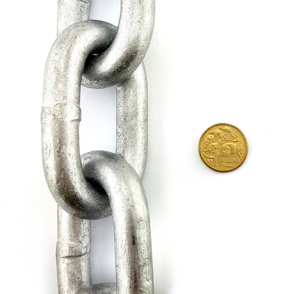 Commercial grade galvanised welded link chain, size 16mm. Chain by the metre. Melbourne, Australia