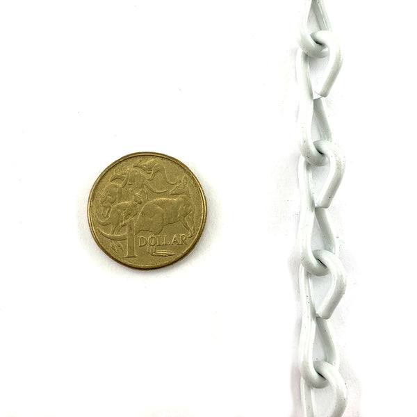 Single Jack Chain White Powder Coated, Size: 2.5mm. Order by the metre