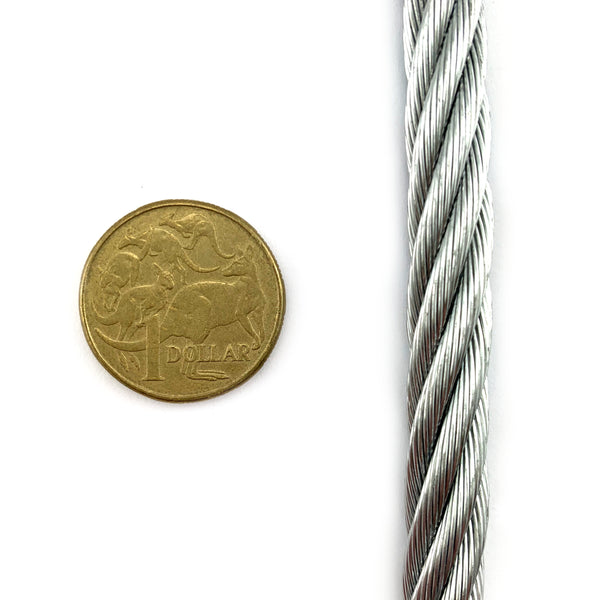 Galvanised wire rope, 10mm. 50m reel. Australia.