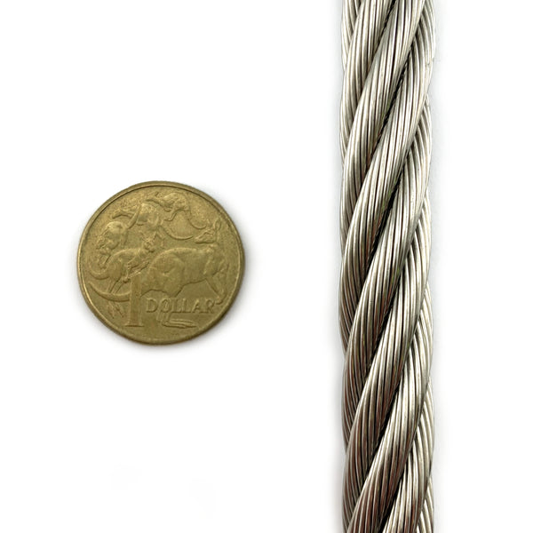 Stainless Steel wire rope (wire cord), size 12mm. By The Metre. Australia.