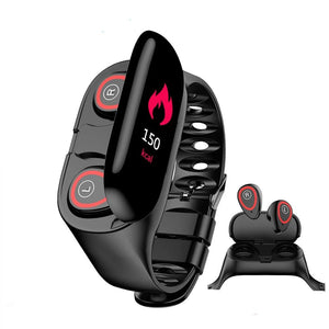 Heart Rate Monitor Smart Watch With Bluetooth Earphone Fitness Tracker