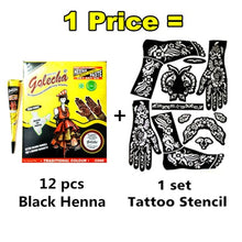 Load image into Gallery viewer, Black Mehndi Henna Kit 12 pcs+ Stencil Set