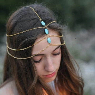 Multi Layer Gold Head Chain with Azure Stones