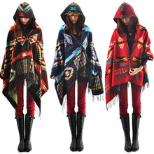 Load image into Gallery viewer, Tribal Hooded Poncho