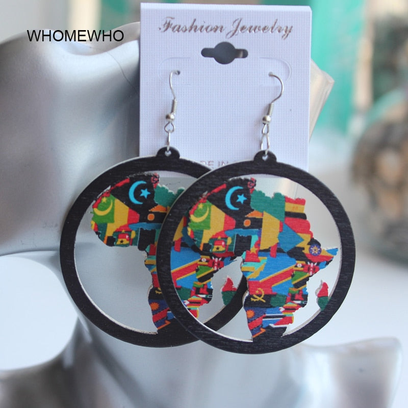 Handmade Ethnic Wooden Earrings Culture Edition