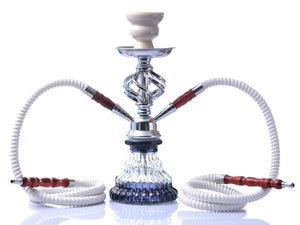 Small Hookah Portable Shisha Pipe with Double Hoses Ceramic
