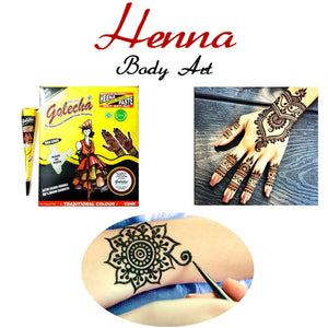 Black Mehndi Henna Kit 12 pcs+ Stencil Set