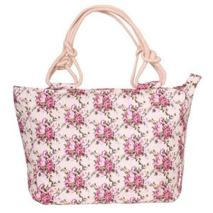 Flower Print Beach Tote Bag