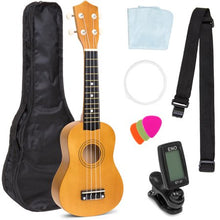Load image into Gallery viewer, Basswood Ukulele Starter Kit w/ Waterproof Nylon Carrying Case- Light Brown