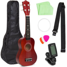 Load image into Gallery viewer, Basswood Ukulele Musical Instrument Starter Kit w/ Waterproof Nylon Carrying Case- Brown