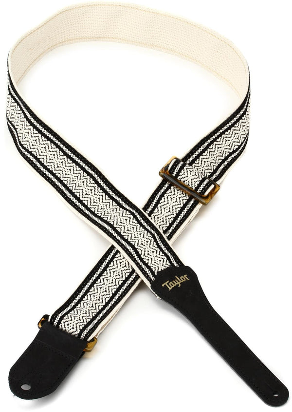 Taylor Academy Strap, White/Black Jacquard Cotton, 2