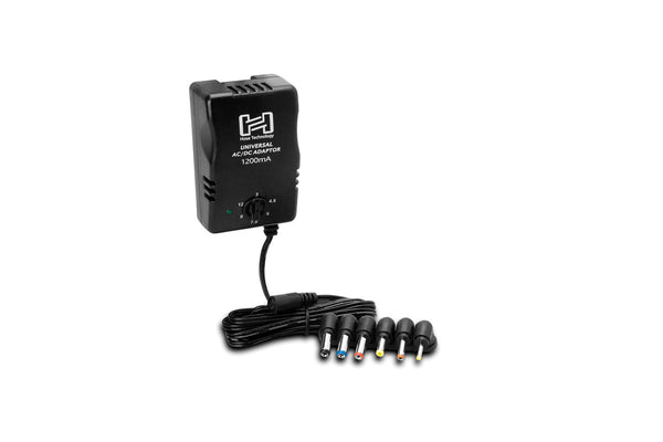 This adaptor is designed to supply power where and when you need it. With selectable DC output up to 12 V and plugs to fit most small electronic devices, it replaces a box full of batteries.