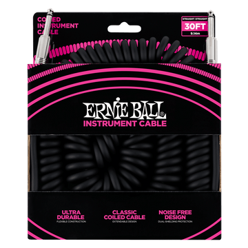 Ernie Ball P06044 Coiled Instrument Cable Straight/Straight Black