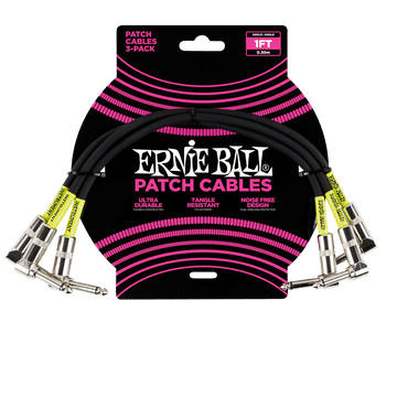 Ernie Ball 1' Patch Cable 3-Pack Black