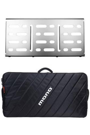 MONO Pedalboard Large, Silver + Pro Accessory Case 2.0, Black