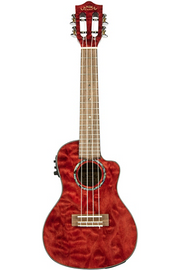 Lanikai QM-CEC Quitled Maple Concert Acoustic-Electric Ukulele - Transparent Red