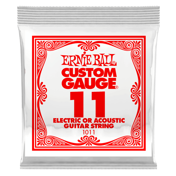 .011 Plain Steel Electric or Acoustic Guitar Strings 6 Pack (1011)