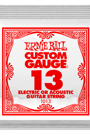 .013 Plain Steel Electric or Acoustic Guitar Strings 6 Pack (1013)