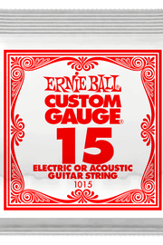 .015 Plain Steel Electric or Acoustic Guitar Strings 6 Pack (1015)