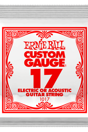 .017 Plain Steel Electric or Acoustic Guitar Strings 6 Pack