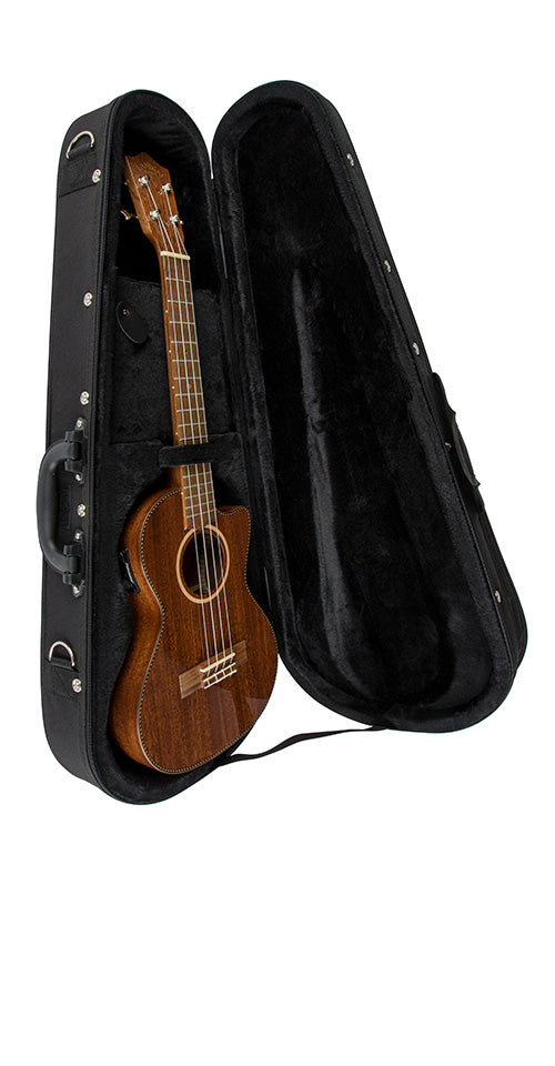 Lanikai QM-PUCET Quilted Maple Purple Tenor Ukulele Cutaway w/Electronics & Case