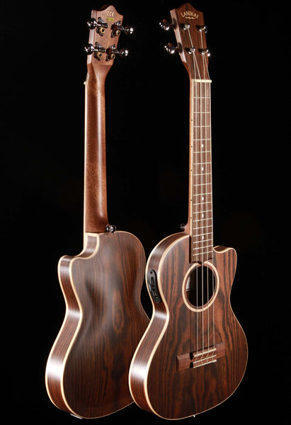 Lanikai FB-CETT Figured Bocote Thin Tenor Ukulele Cutaway with Electronics