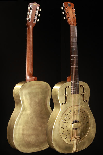 National Raw Brass 14 Fret Resonator Guitar w/Hardshell Case