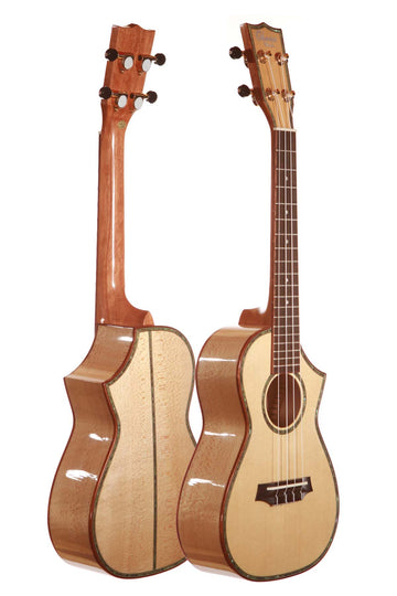 Ohana CK-75CG Solid Wood Spruce Top Maple Back and Sides Gloss Finish Concert Ukulele with Cutaway