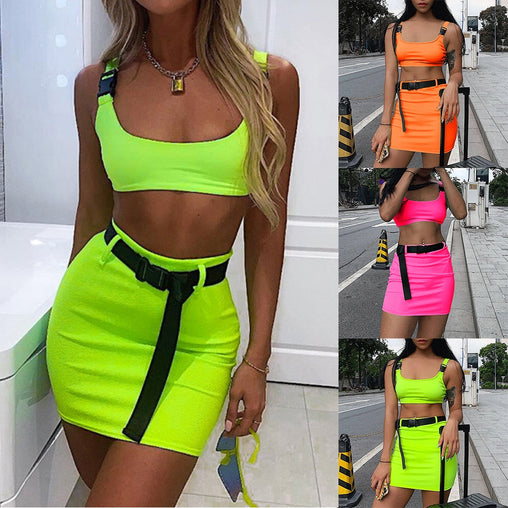 Women Summer Neon Two Pieces Set