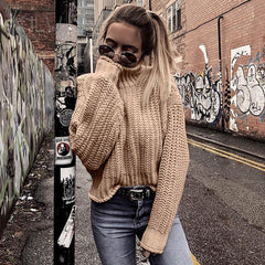 Khaki Turtleneck Sweater