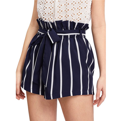 Belted High-Waisted Striped Shorts
