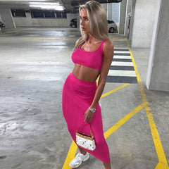 Neon Maxi Skirt Two Piece Set