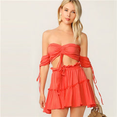 Drawstring Off The Shoulder Two Piece Set