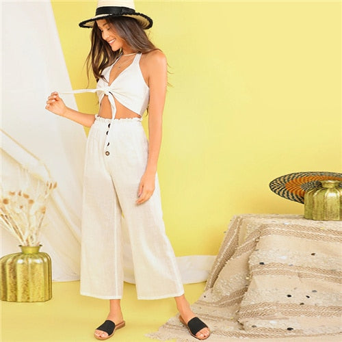 White Buttoned 2 Piece Set