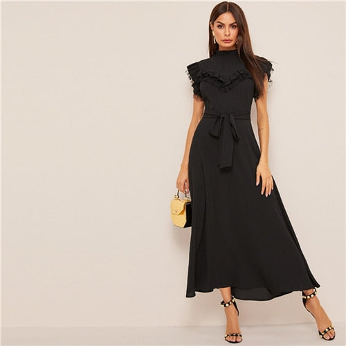 Black Belt Ruffled Fit and Flare Work Dress