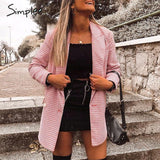 Pink Plaid Women Blazer
