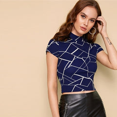Geo Print Mock Neck T Shirt