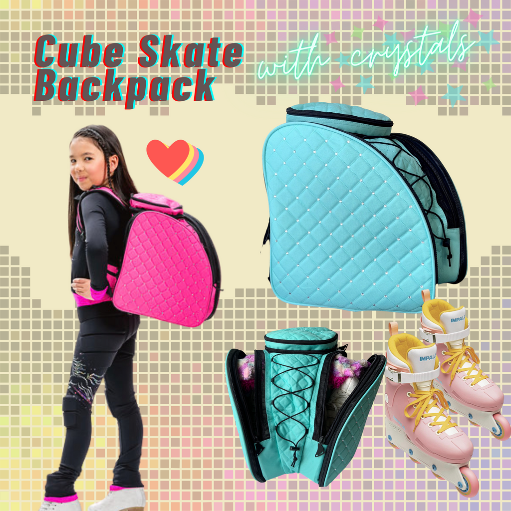CUBE Skate Backpack Pink with crystals. (for Figure & Inline skates only)