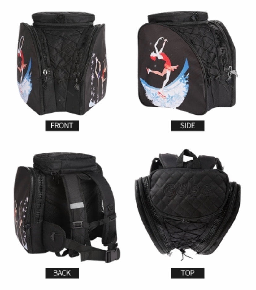 CUBE skate backpack Black with red dress spinner. (for Figure & Inline skates only)
