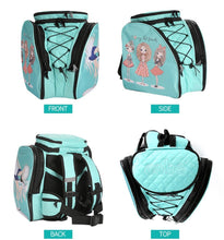 Load image into Gallery viewer, CUBE Skate Backpack Mint Green with blue dress spinner
