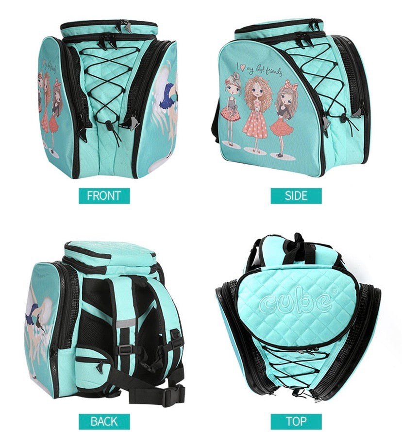 CUBE Skate Backpack Mint Green with best friends. (for Figure & Inline skates only)