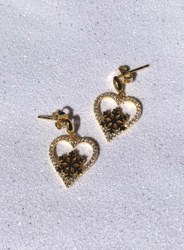 STERLING SILVER SNOWFLAKE EARRINGS GOLD PLATED -SXE316
