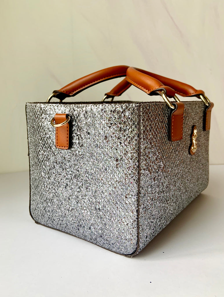 Cube Tote Bag BLING,silver/S