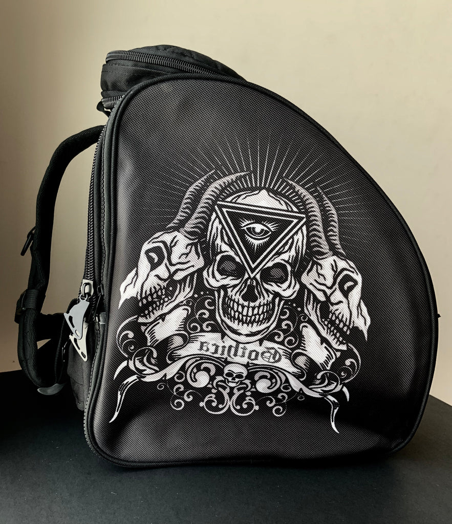 CUBE skate backpack Black with skeleton. (for Figure & Inline skates only)