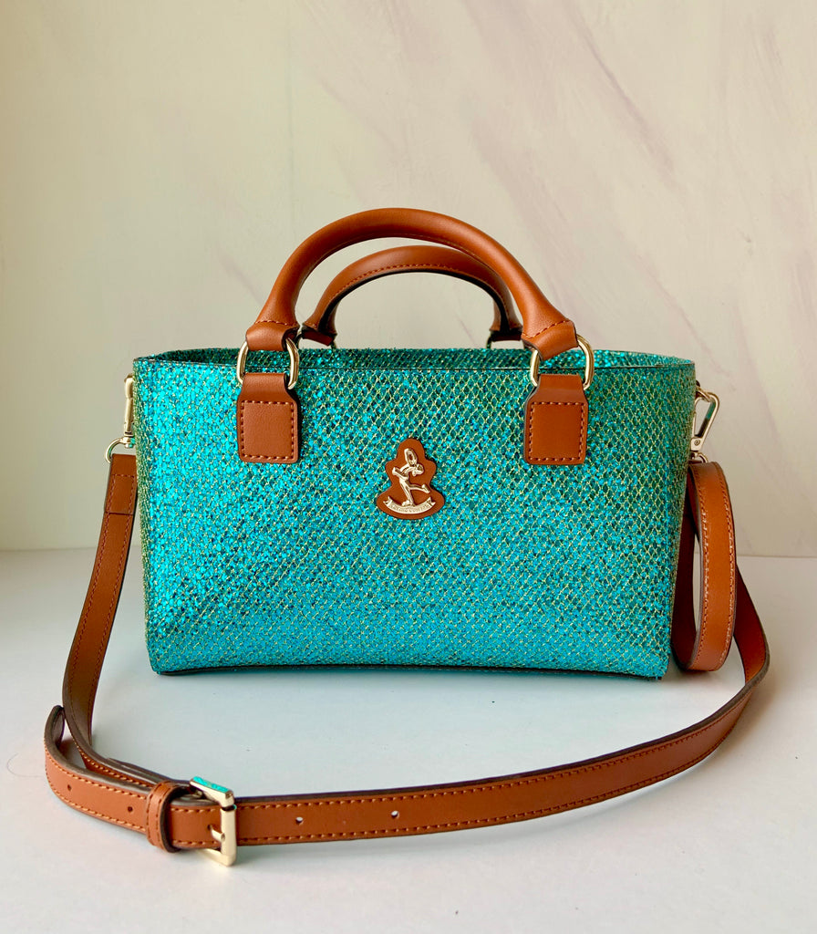 Cube Tote Bag BLING, cyan/G