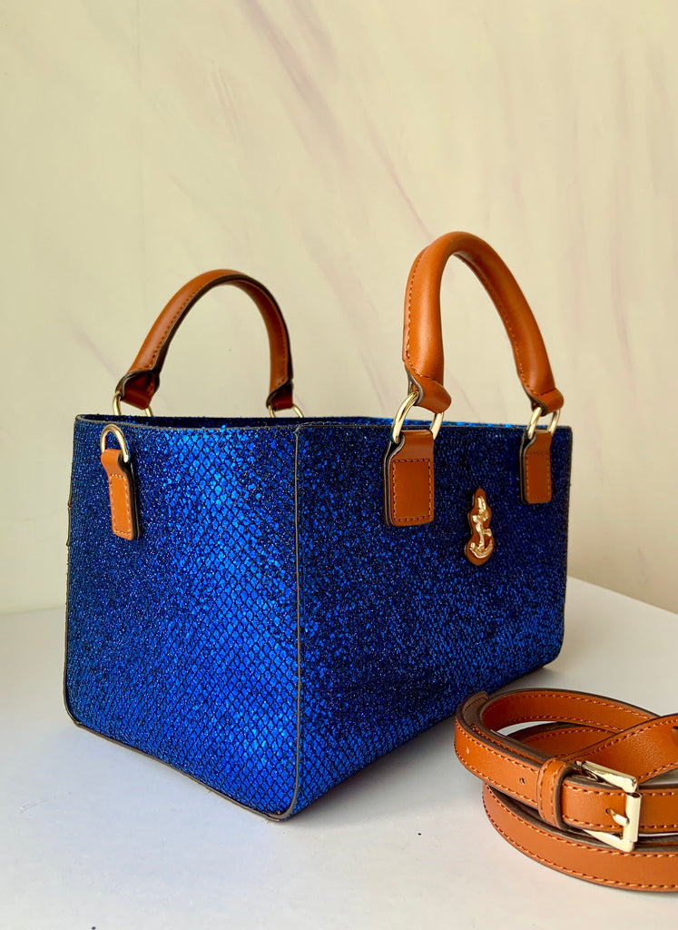 Cube Tote Bag BLING, blue/B